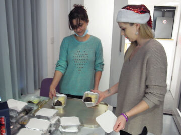 Christmas pudding course being prepared